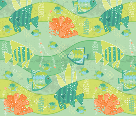 green ocean fabric by lilliblomma on Spoonflower - custom fabric