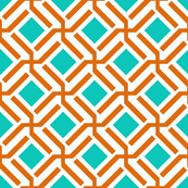 Turquoise and Tangerine Maze Geometric
