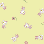 Pink Kittens on Yellow