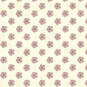 Pretty Kittens Pink Flowers on Cream