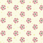Pink Flowers on Cream
