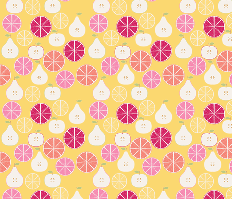 pomme_poire_orange_jaune_S fabric by nadja_petremand on Spoonflower - custom fabric