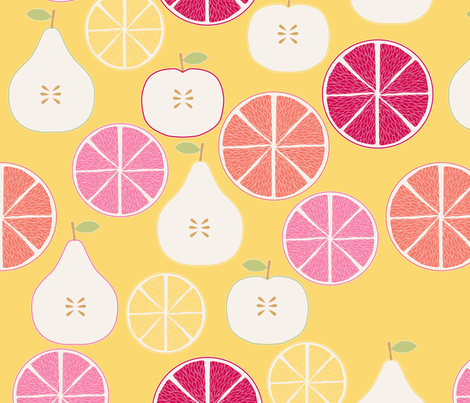 pomme_poire_orange_jaune_M fabric by nadja_petremand on Spoonflower - custom fabric