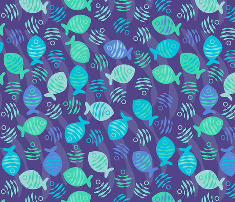 Surfish Print fabric by jillodesigns on Spoonflower - custom fabric