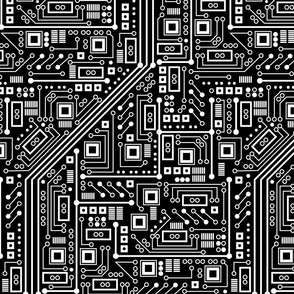 Robot Circuit Board - Large (Black and White)