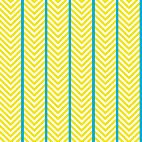 Yellow Chevrons with Turquoise Stripes