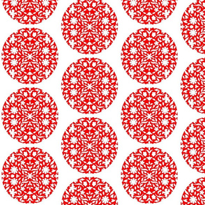 Middle Eastern Chinese Paper-Cut Red on White Circles