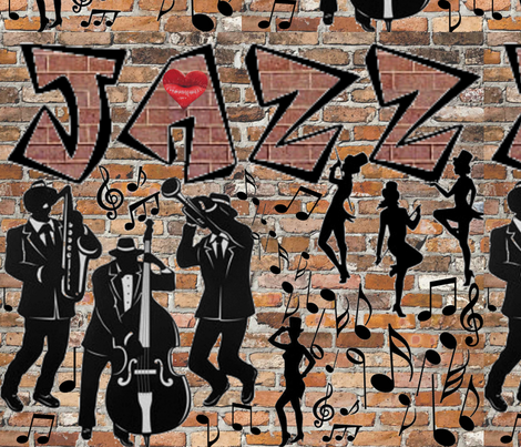 JAZZ GRAFFITI fabric by bluevelvet on Spoonflower - custom fabric