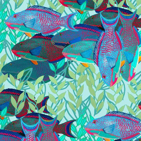 A pack of parrotfish by Su_G fabric by su_g on Spoonflower - custom fabric