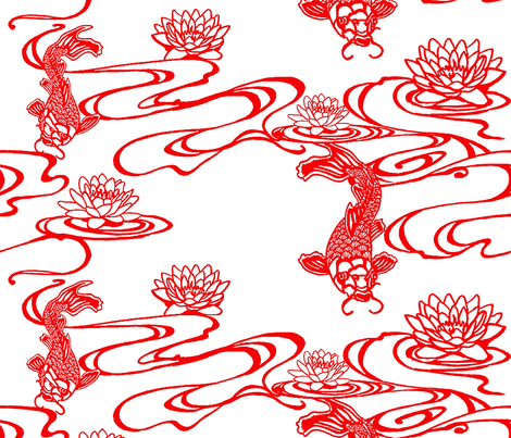 Koi in stream papercut fabric by ashleyamandadesigns on Spoonflower - custom fabric
