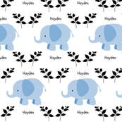 Elephants in A Row - blue-Personalized