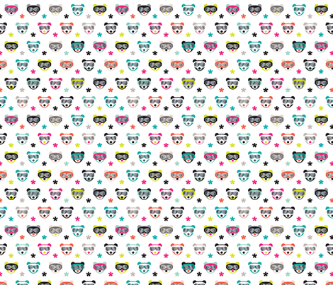 Hello winter mister bear hipster goggles fabric by littlesmilemakers on Spoonflower - custom fabric