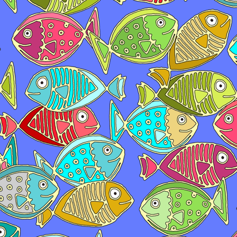 fish blue fabric by scrummy on Spoonflower - custom fabric