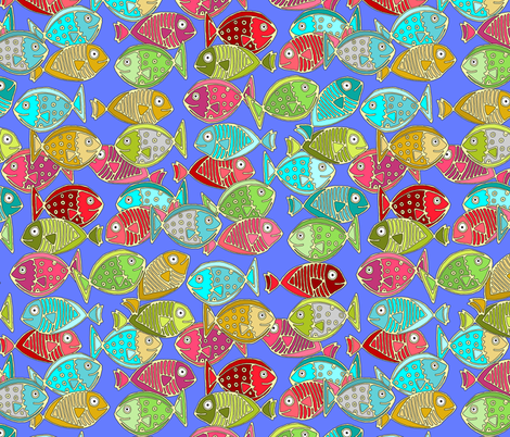 fish blue fabric by scrummy on Spoonflower - custom fabric