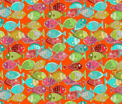 fish orange fabric by scrummy on Spoonflower - custom fabric
