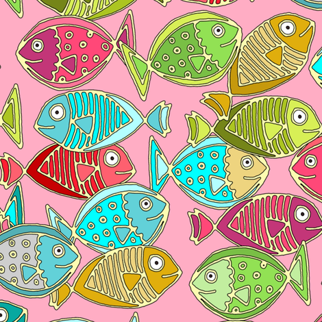 fish pink fabric by scrummy on Spoonflower - custom fabric