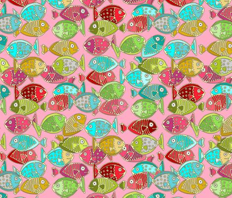 fish pink fabric by scrummy on Spoonflower - custom fabric