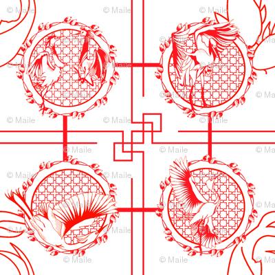Snowy Egret Paper Cut Fabric