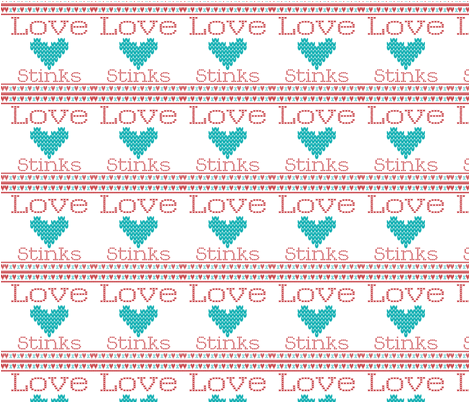Love_Stinks_Cross Stitch fabric by popstationery&gifts on Spoonflower - custom fabric