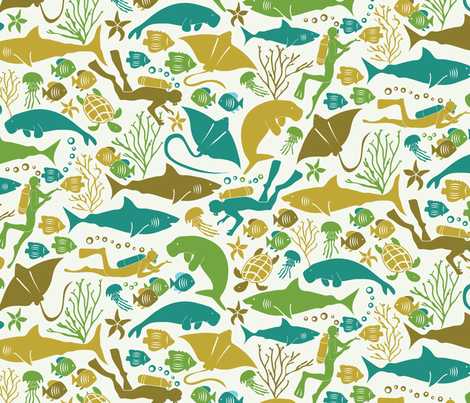 Great barrier reef locals fabric by ebygomm on Spoonflower - custom fabric