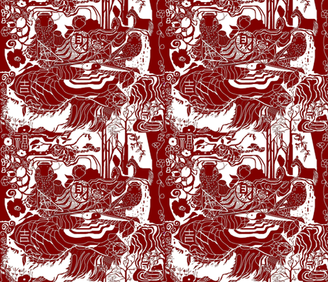 HAPPY CHINESE NEW YEAR 2014 fabric by skitzykit on Spoonflower - custom fabric