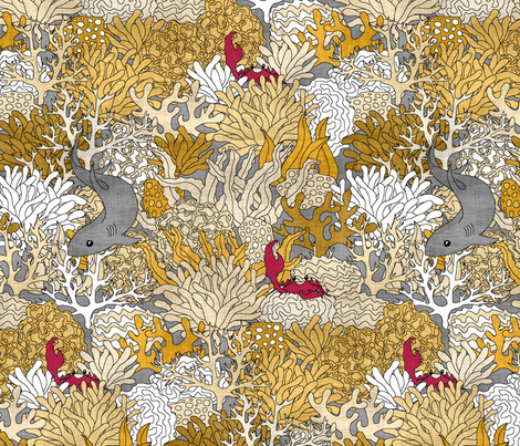 Golden Reef with Shark Linen fabric by pond_ripple on Spoonflower - custom fabric