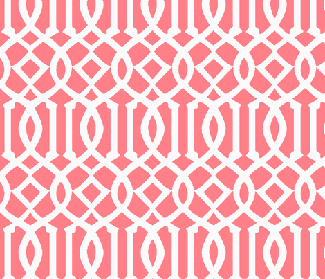 Imperial Trellis-Coral/White-Large