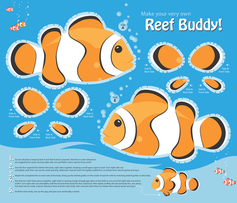 Reef Buddy, a Clownfish Softie fabric by hootenannit on Spoonflower - custom fabric