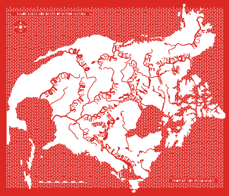 Map of NA Rivers, Chinese paper cut fabric by linkolisa on Spoonflower - custom fabric