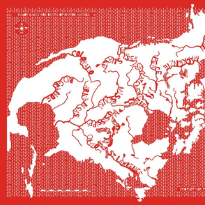 Map of NA Rivers, Chinese paper cut