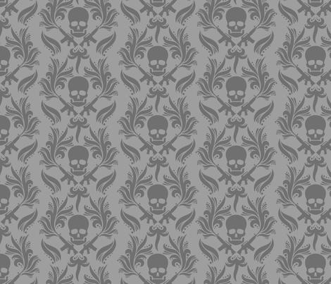 Damask skulls fabric by vicky_s on Spoonflower - custom fabric