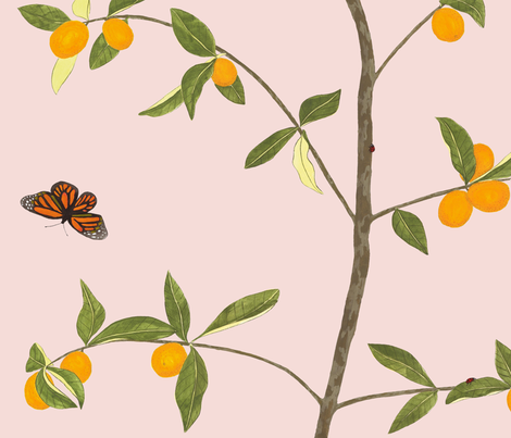 Jenny kumquat on blush fabric by domesticate on Spoonflower - custom fabric