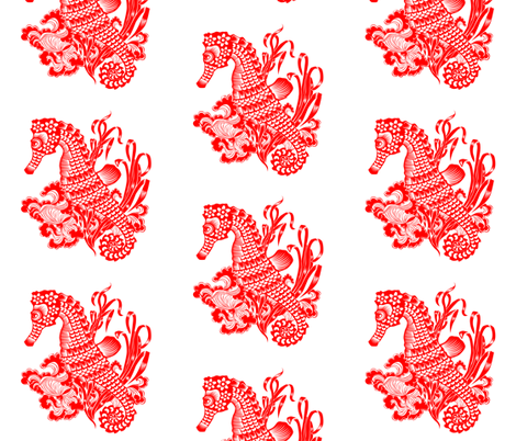 Seahorse Chinese Paper Cutting fabric by fossan on Spoonflower - custom fabric