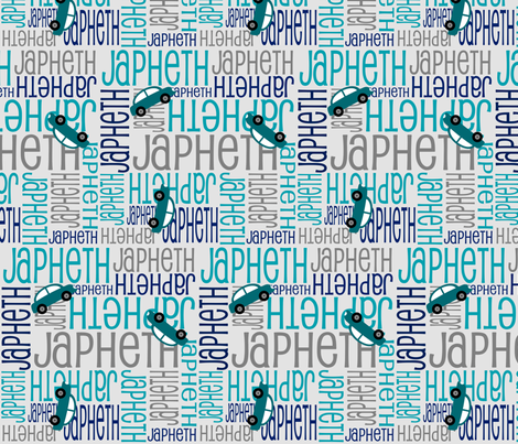 Personalised Name Fabric - Cars in Teal Greys Navy