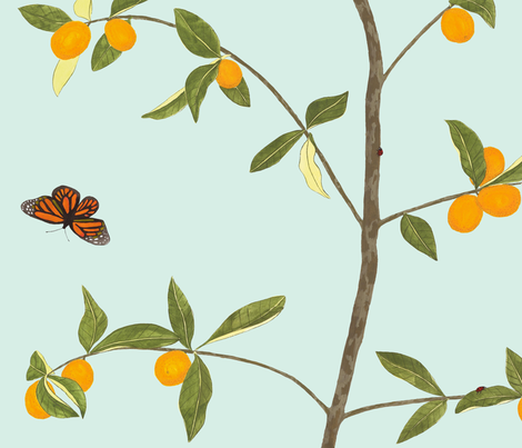 Jenny kumquat on mint fabric by domesticate on Spoonflower - custom fabric