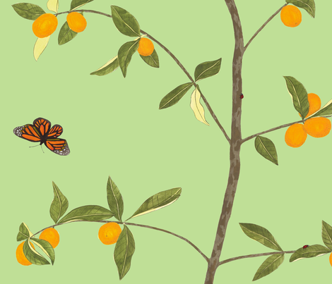 Jenny kumquat on spring green fabric by domesticate on Spoonflower - custom fabric