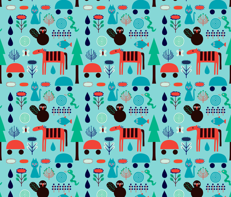 Playful forest  fabric by toveform on Spoonflower - custom fabric