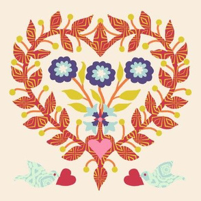 Baltimore Quilt Panel -Heart