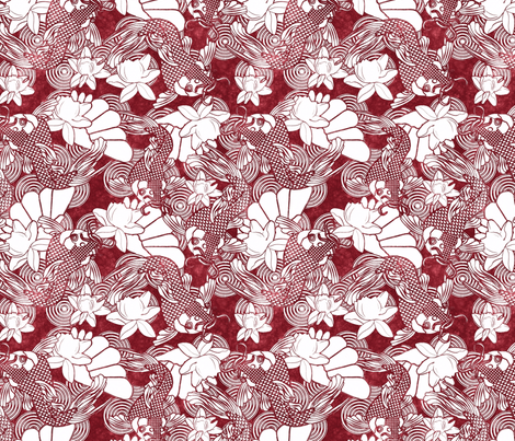 koi and lotus on red fabric by kociara on Spoonflower - custom fabric
