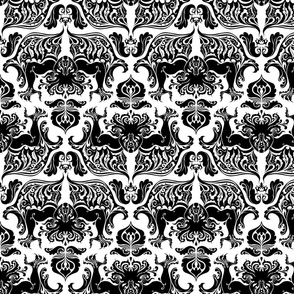 I Love Craft (Cthulhu Damask) black and white