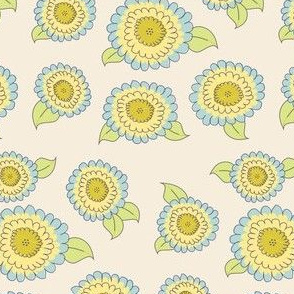 Blue and yellow mums on cream