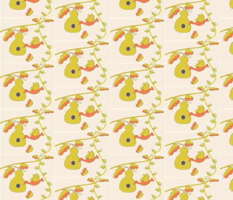 Hanging Gourd Bird House-half drop fabric by vanillabeandesigns on Spoonflower - custom fabric