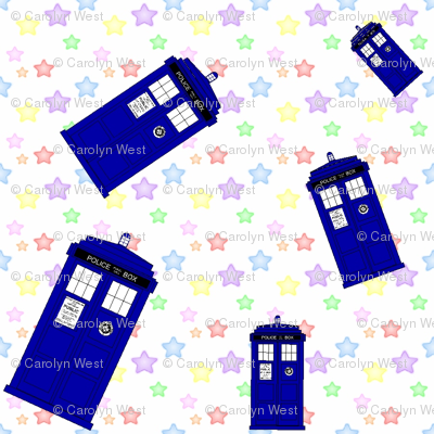 Police boxes pastel stars 900 fabric lilbabythangs for Pastel galaxy fabric