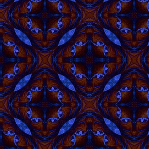 Sphynx Cat Eye Abstracted Psychedelic Blue & Maroon