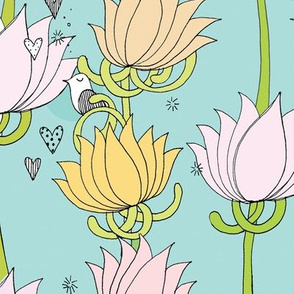 Birds and Lotus