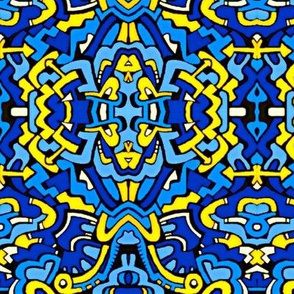 Blue and Gold contemporary damask