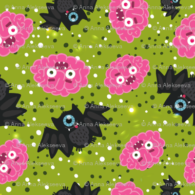 Halloween Brain BAT pattern