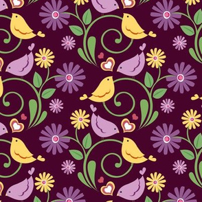 Ditsy Birds Purple