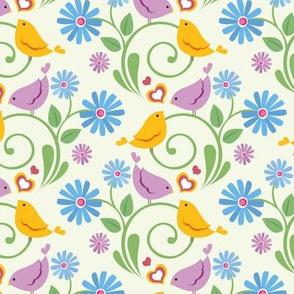 Ditsy Birds White