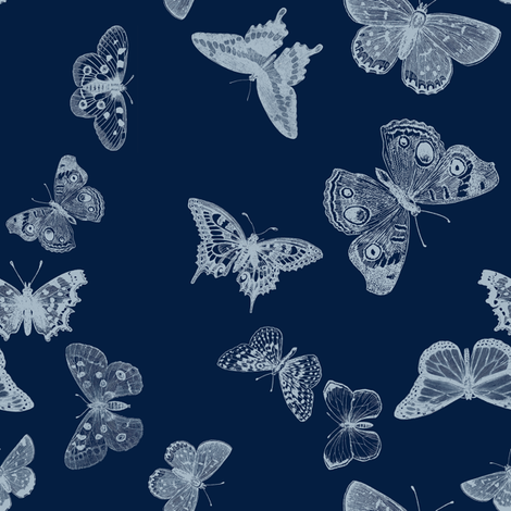 Indigo Butterfly fabric by trollop on Spoonflower - custom fabric